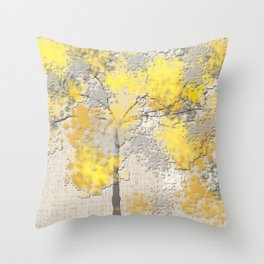 Abstract Yellow and Gray Trees Deko-Kissen