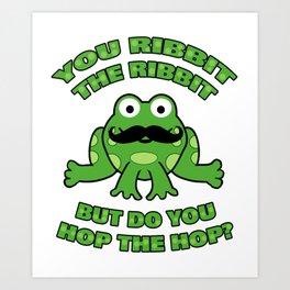 Funny Mustache Frog Hop the Hop Art Print