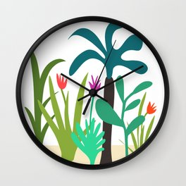 Lush Tropical Garden // Hand-drawn Modern Organic Illustration Wall Clock