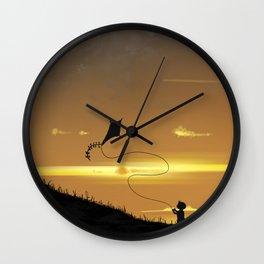 Kite-Flying at Sunset Wall Clock