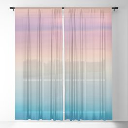 Modern watercolor navy blue pink sunset pattern Sheer Curtain
