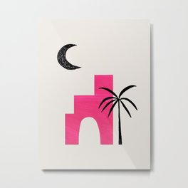 Magenta Minimalist Mid Century Ancient Ruins Paper Collage Moon Lit Palm Tree by Ejaaz Haniff Metal Print