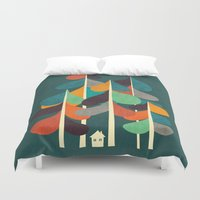 cabin Duvet Covers featuring Cabin in the woods by Picomodi