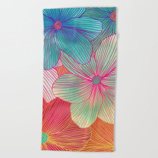 Between the Lines - tropical flowers in pink, orange, blue & mint Beach Towel