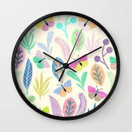 Flower and Butterfly II Wall Clock