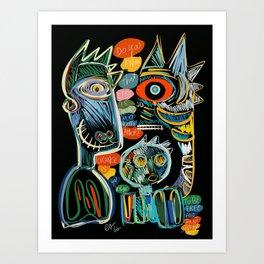 Graffiti Art Creatures Rainbow Colors and Words  Art Print