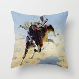 """William Leigh Western Art """"A Fighting Cyclone"""" Throw Pillow"""