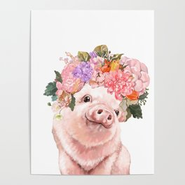 Lovely Baby Pig with Flowers Crown Poster