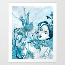 The Peacock & The Crane Art Print