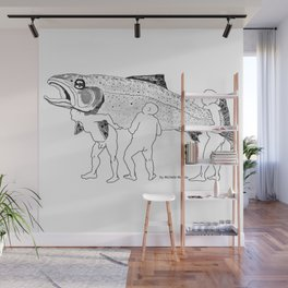 Naked Guys with a Trout Wall Mural