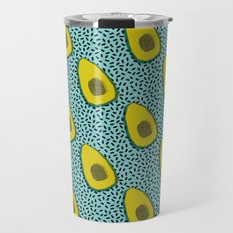 Fer Shure - memphis retro throwback avocado love fruit vegetable vegan vegetarian raw food art Travel Mug