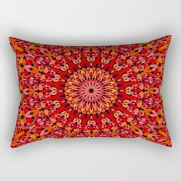 Red Geometric Bloom Mandala Rectangular Pillow