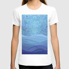 Blue Mandala Sunset at the Ocean T-shirt