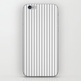 Mattress Ticking Narrow Striped Pattern in Charcoal Grey and White iPhone Skin