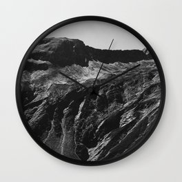 Swiss Alpine Mountains in Black and White Wall Clock