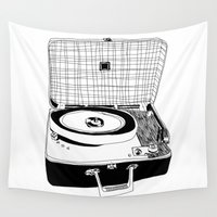 record Wall Tapestries featuring Record Player by Paul McCreery