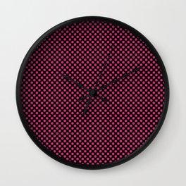 Black and Pink Yarrow Polka Dots Wall Clock