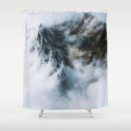 Moody Switzerland Mountain Peaks - Landscape Photography Shower Curtain