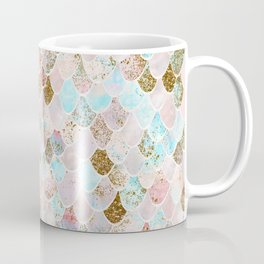 Wonky Watercolor Sea Foam Glitter Mermaid Scales Coffee Mug