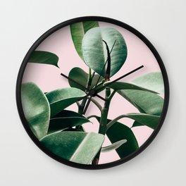 Plant, Green, Leaf, Pink, Minimal, Trendy decor, Interior, Wall art, Photo Art Print Wall Clock