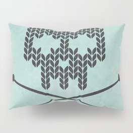 Knitted Skull / Knitting with Attitude (black on vintage aquamarine) Pillow Sham