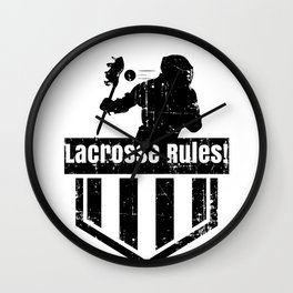 Lacrosse Rules! LAX Sport G.O.A.T Lacrosse Player Lacrosse Game ReLAX Steeze Wall Clock