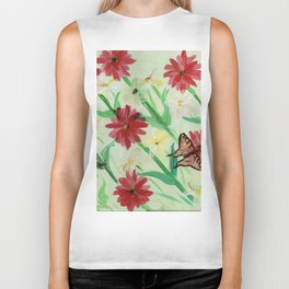 Daisies Butterflies Katydid Red Green and White Biker Tank
