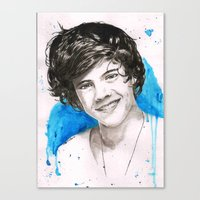harry styles Canvas Prints featuring Harry Styles by Marina  Berdnikova