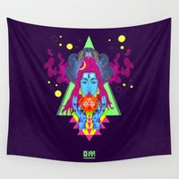 hindu Wall Tapestries featuring Om (Trance Edit) by RJ Artworks