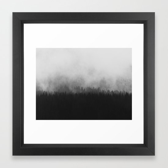 Minimalist Modern Black And White Photography Landscape Misty Pine Forest Watercolor Effect Sp Framed Art Print By Enshape Society6