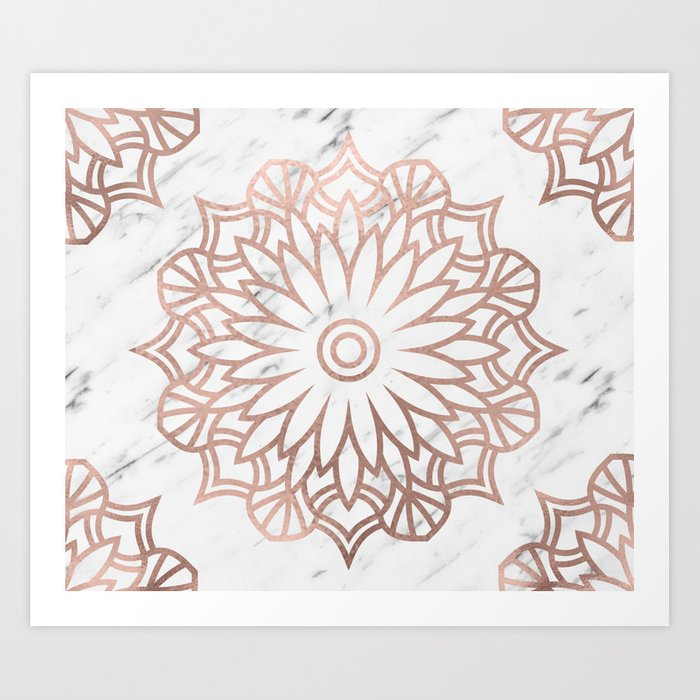 Marble mandala - floral rose gold on white Art Print by marbleco ...