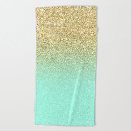 Modern gold ombre mint green block Beach Towel