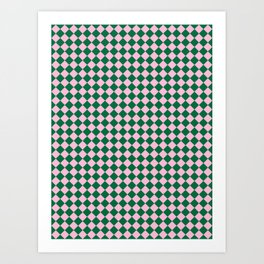 Cotton Candy Pink and Cadmium Green Diamonds Art Print