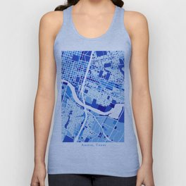 Austin Texas City Map Blue Unisex Tank Top