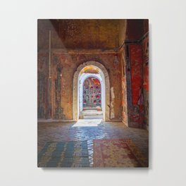 Doorway in a a colorful buddhist monastery in Nyaung Shwe, Inle Lake | Travel photography Myanmar Metal Print