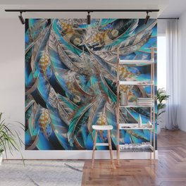 Fashion pattern with blue feathers. Trendy design Wall Mural