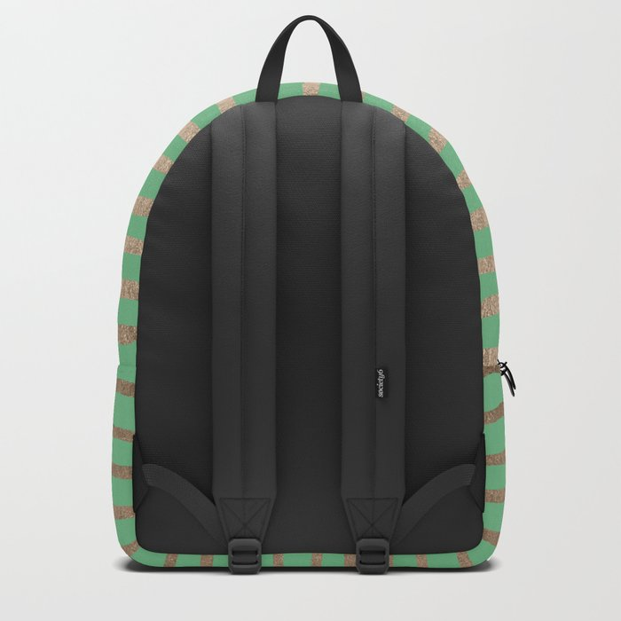 Abstract Stripes Gold Tropical Green Backpack