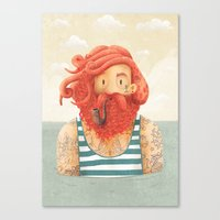 ginger Canvas Prints featuring Octopus by Seaside Spirit