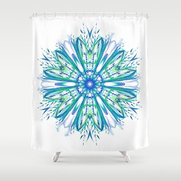 Blue and Green Snowflake Shower Curtain