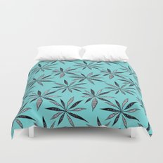 Elegant Thin Flowers With Dots And Swirls Duvet Cover