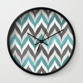 Chevron Aqua Grey Wall Clock