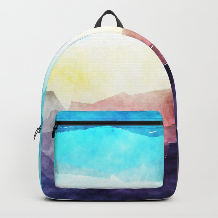 In the sea- abstract watercolor - Original triangle pattern Backpack