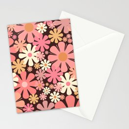 Vintage 60s 70s Floral Pattern in Blush Pink and Brown Stationery Cards