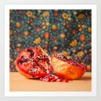 pomegranate Art Prints featuring Pomegranate by Marie Carr