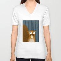 beaver V-neck T-shirts featuring Beaver by makoshark