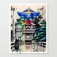 spirited away Canvas Prints featuring Spirited Away by Sandra Ink