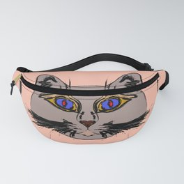 Cute gray cat. Muzzle cartoon cat in a box. Fanny Pack