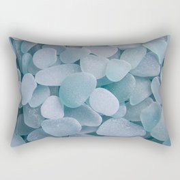 Aqua Sea Glass - Up Close & Personal Rectangular Pillow