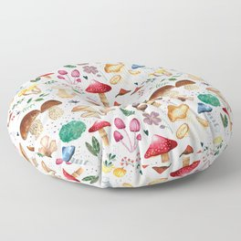 Watercolor forest mushroom illustration and plants Floor Pillow