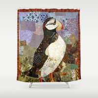fabric Shower Curtains featuring Fabric Puffin by Madara Mason Studio